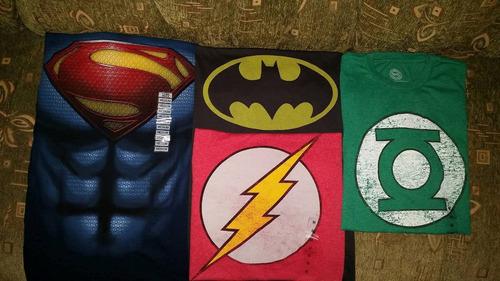 camiseta batman, superman, flash,   la liga de la justicia