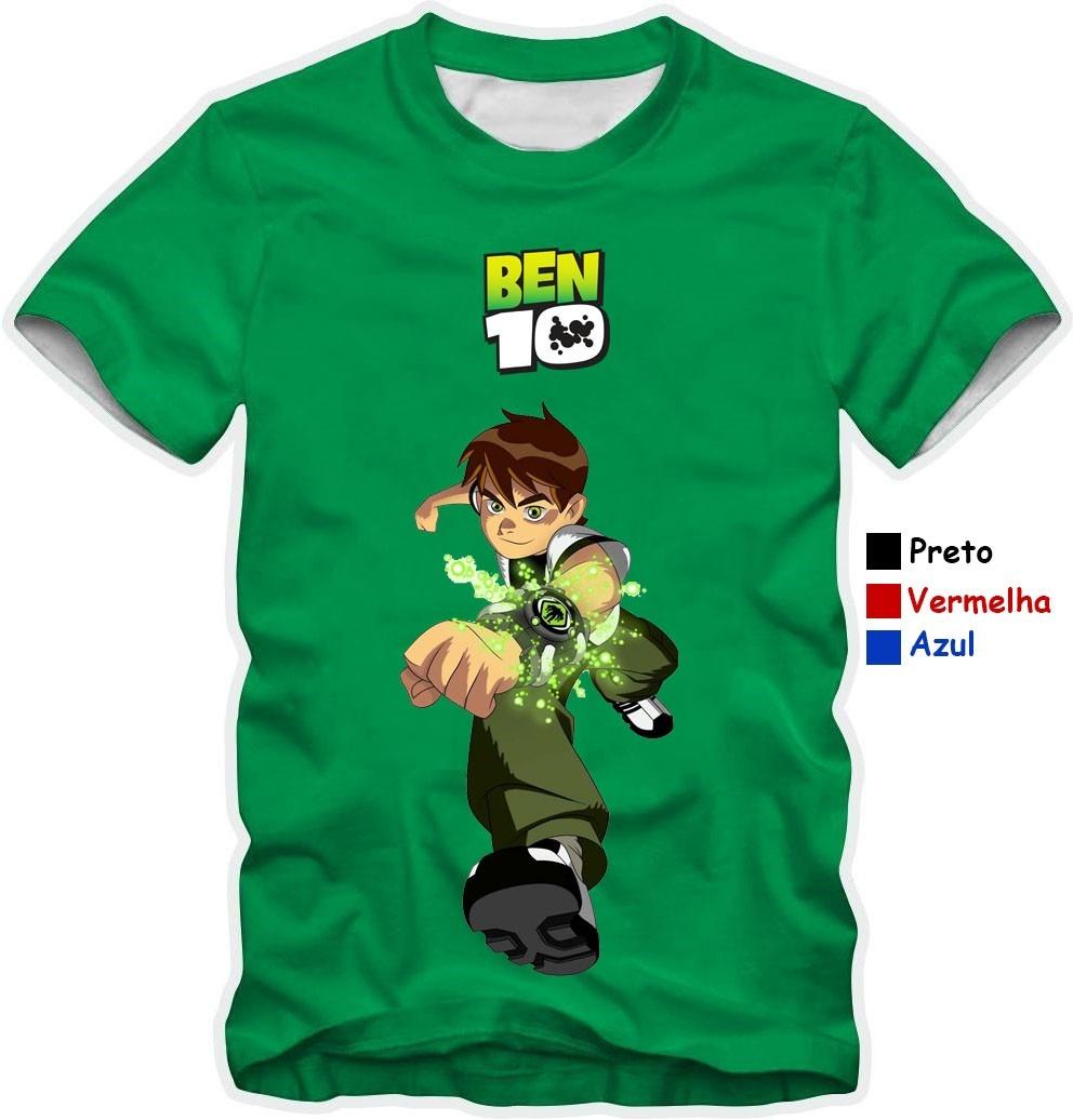 Camiseta Ben10 Verde 100% Desenho Herói Camisa Ben10 Cores