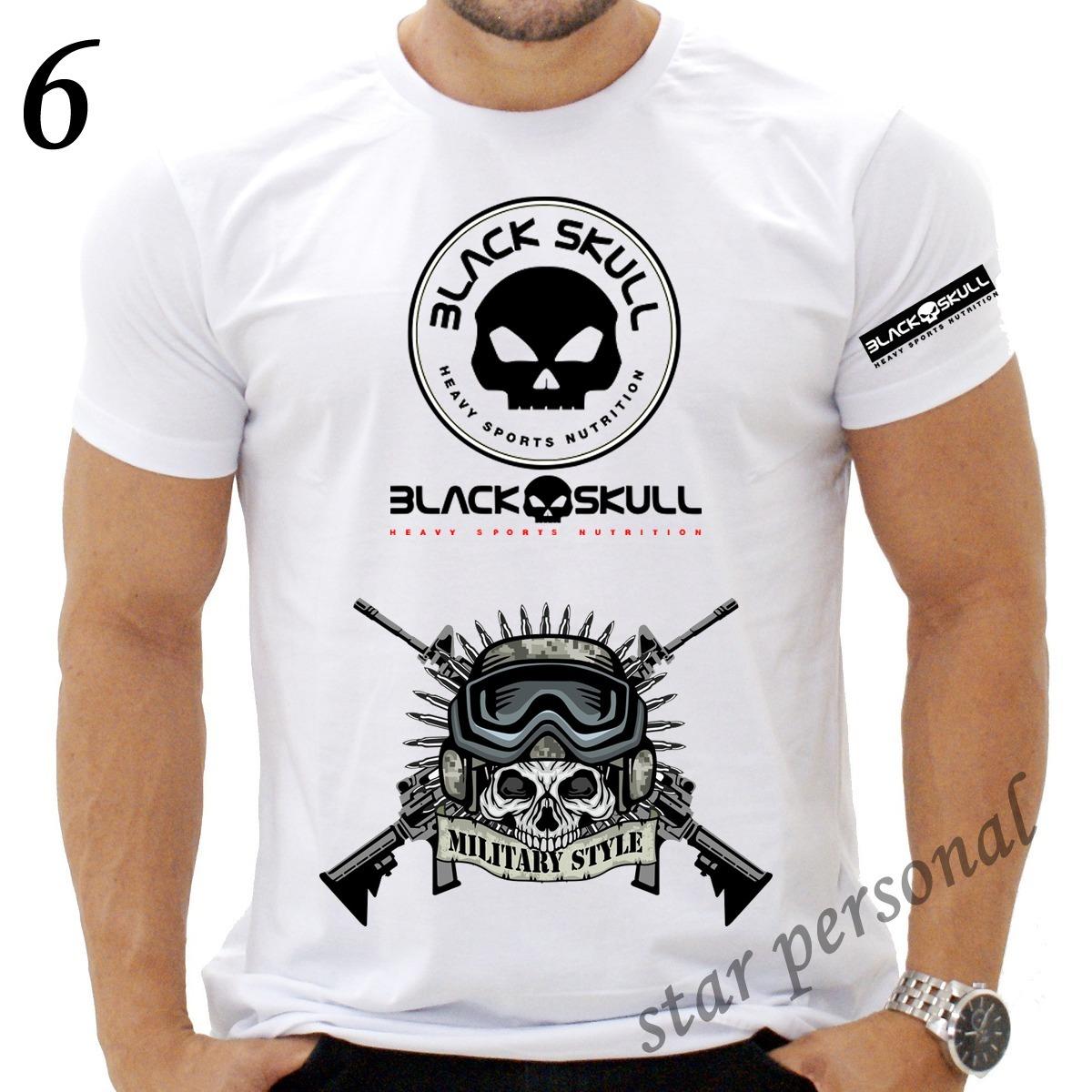 camiseta black skull caveira preta academia punisher. Carregando zoom. d2a64b758c4