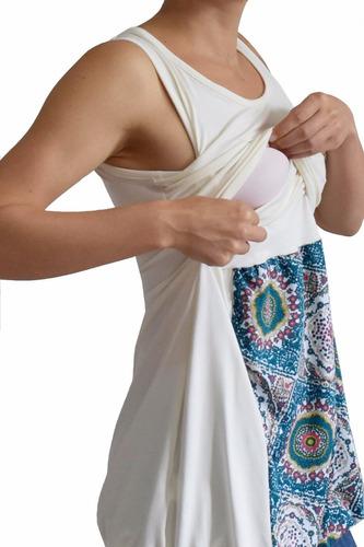 camiseta blanca hongo estampada maternidad y lactancia