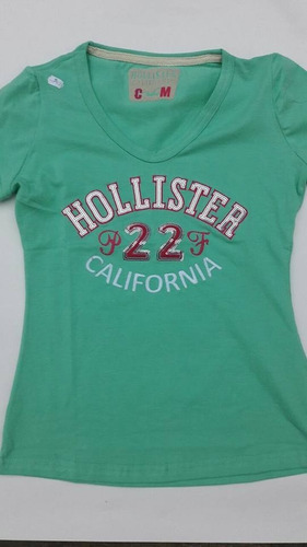 camiseta blusa dama algodon bordadas hollister, s, m, l, xll