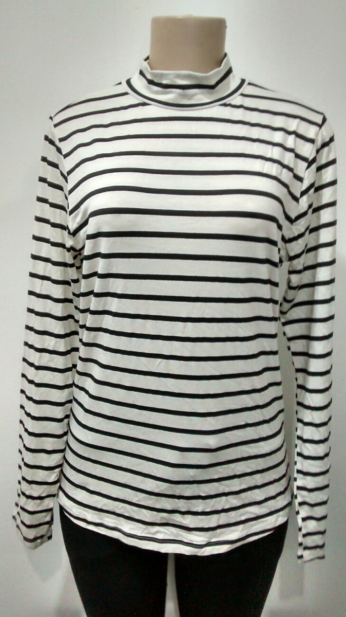 526e74414 camiseta blusa feminina manga longa listrada malha viscose. Carregando zoom.