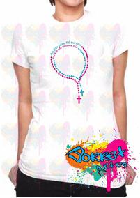 9eb662fb28a4 Camiseta Blusa Manga Curta Feminina T-shirt Andar Com Fé