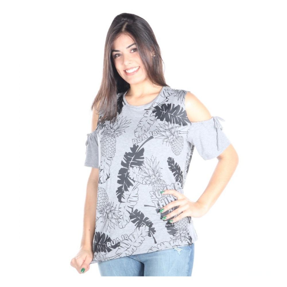 d3111bb280 Camiseta Blusa R18 Feminina Amarração Manga - R  89