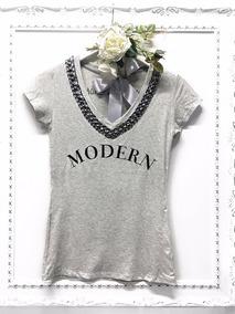 4cb5ece137 Camiseta Blusa T-shirt Bordada Pedraria Misslamuor Original