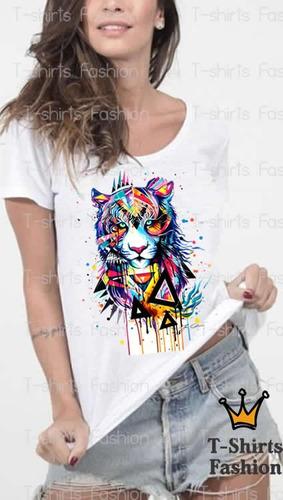 camiseta blusa t-shirts onça colorida fashion color moda