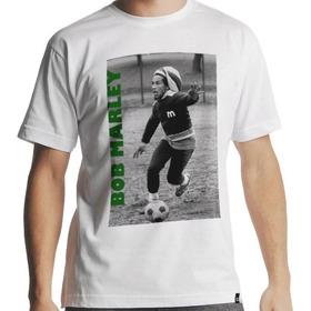 Camiseta Bob Marley Futebol No Brasil Branca