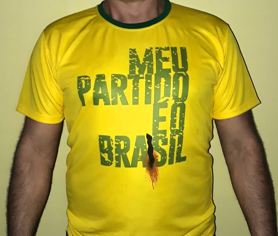 db76da01c2 camiseta bolsonaro facada meu partido é o brasil amarela. Carregando zoom.
