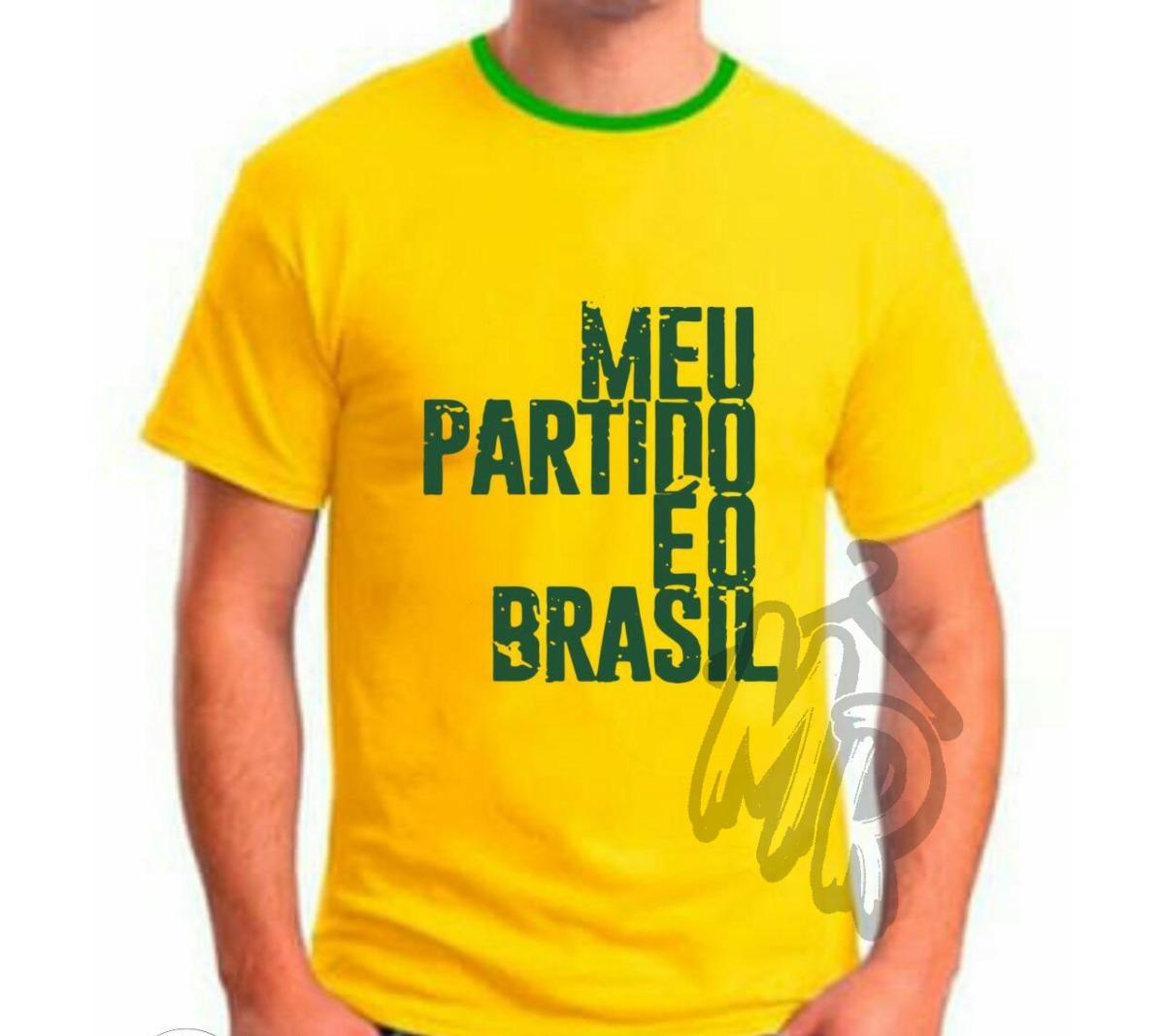 9ef95b6f87 Camiseta Bolsonaro Meu Partido É O Brasil Camisa Amarela - R  36