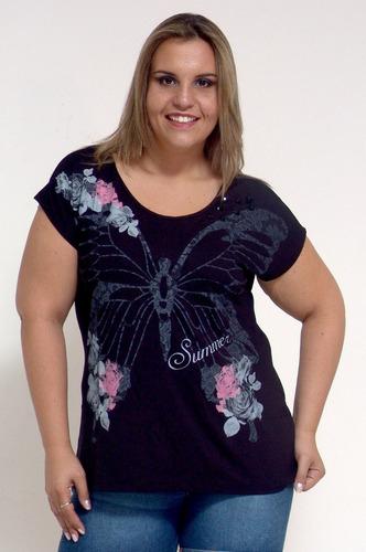 camiseta borboleta - plus size