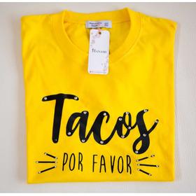 Camiseta Bordada  Tacos Por Favor