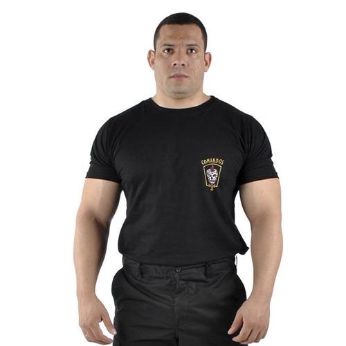 camiseta bordada comandos tática militar