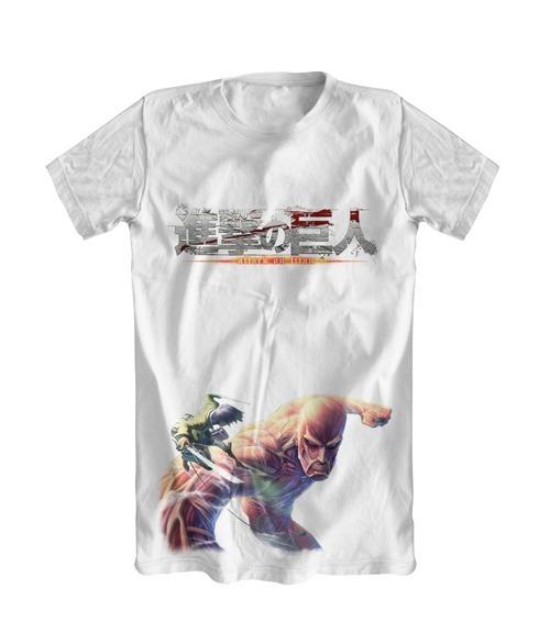 e4ab0e92d Camiseta Branca Anime Shingeki No Kyojin - Attack On Titan - R  67 ...