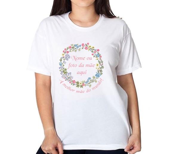 38f16bcbfb8 Camiseta Branca Dia Das Mães Customizada Circulo Flores 2 - R$ 34,05 ...