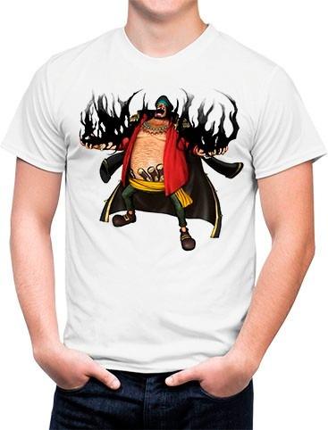 camiseta branca one piece marshall d. teach  barba negra 741