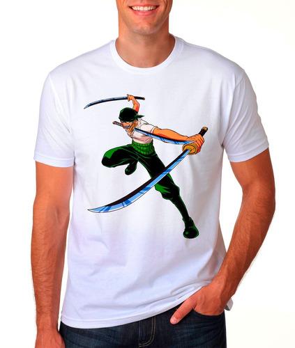 camiseta branca roronoa zoro o caçador de piratas 729