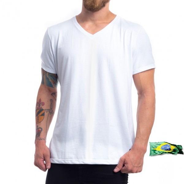 f0981836e4 Camiseta Branca Sublimação 100% Poliester Gola V - R  12