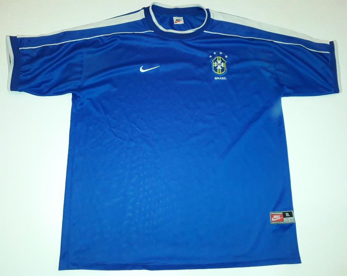 2c21364e5a camiseta brasil copa da frança 1998 azul original nike - 36. Carregando  zoom.