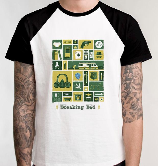 8e50a050e Camiseta Breaking Bad Série Camisa Blusa Química Raglan - R  39