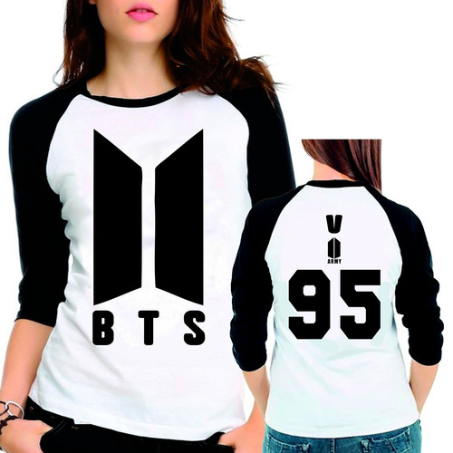 camiseta bts bangtan boys novo logo v 95 babylook 3/4