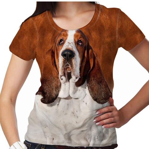 camiseta cachorro basset hound feminina