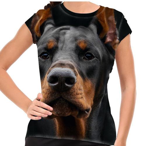 camiseta cachorro dobermann baby look