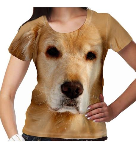 camiseta cachorro golden retriever feminina