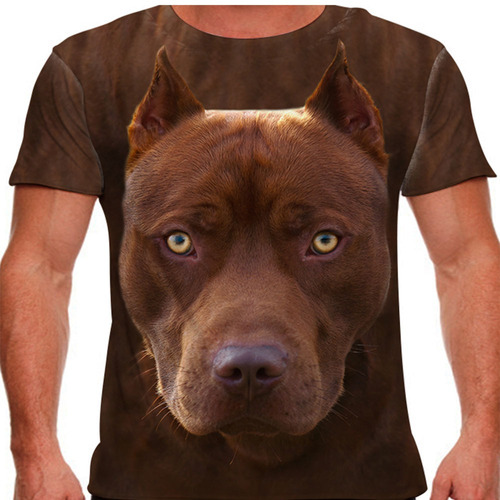 camiseta cachorro pitbull marrom masculina