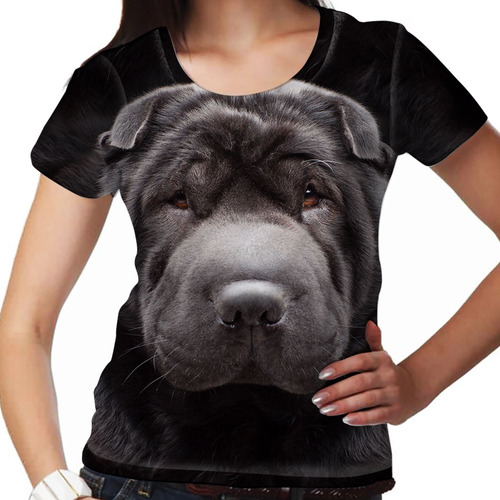 camiseta cachorro sharpei preto feminina