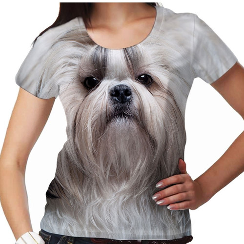 camiseta cachorro shih-tzu smooth feminina