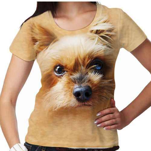camiseta cachorro yorkshire dourado feminina