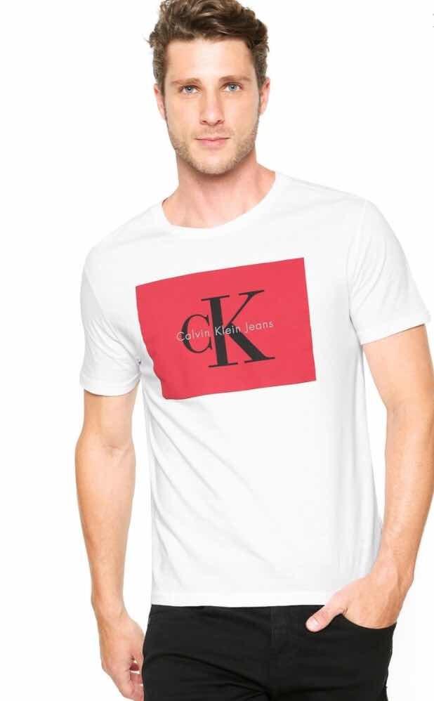 camiseta calvin klein jeans reta branca 50380. Carregando zoom. e0799af0353