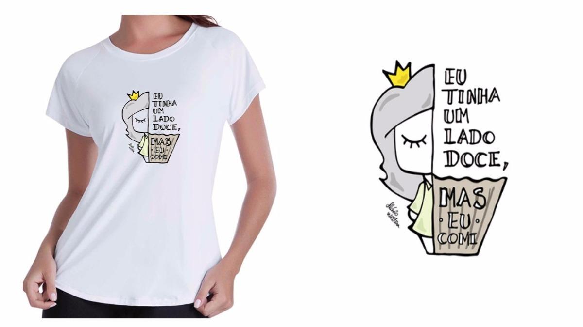 Camiseta Camisa Baby Look Branca T-shirt Comi Meu Lado Doce - R  62 ... cf87ebdd406