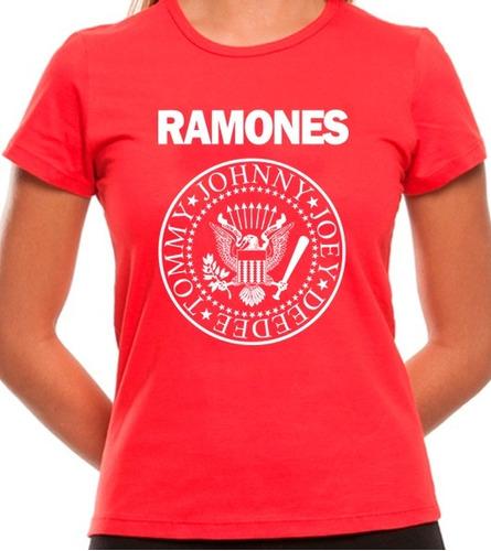 camiseta, camisa baby look feminina ramones