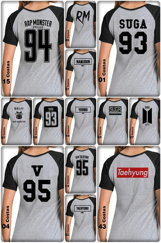 camiseta camisa babylook bts costas jungkook e outras opcoes