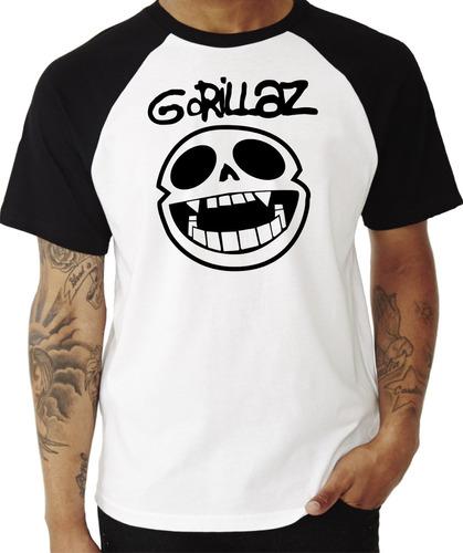 camiseta camisa blusa banda gorillaz #1 raglan manga curta