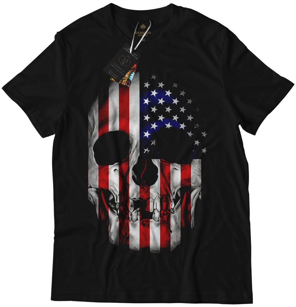 b4b4c52415 Camiseta Camisa Blusa Caveira Bandeira Estados Unidos Top - R  44