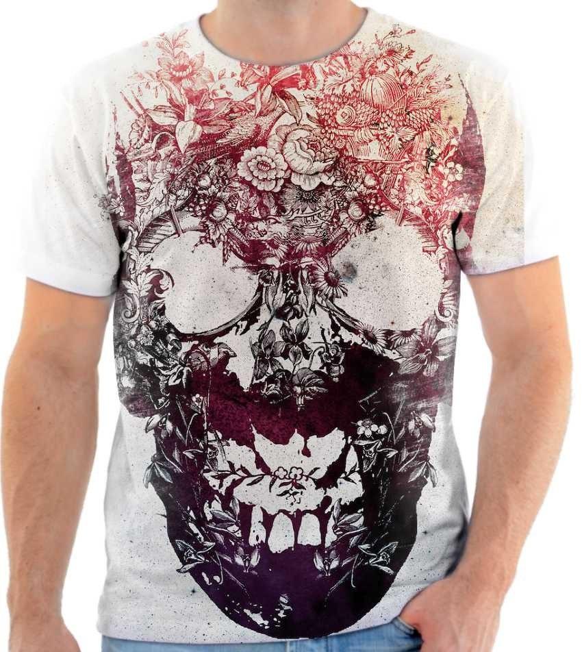 Camiseta Camisa Blusa Caveira Florida Estampada Caveiras 84 - R  34 ... 38893a9d79c