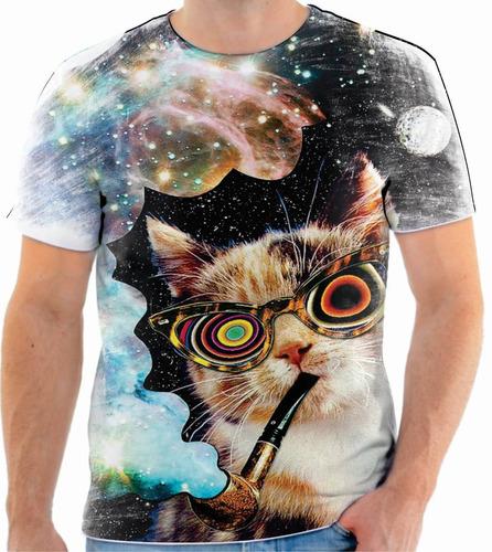 camiseta camisa blusa gato psicodelica animal 01