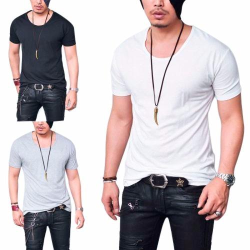 camiseta camisa blusa gola canoa basica masculina algodao