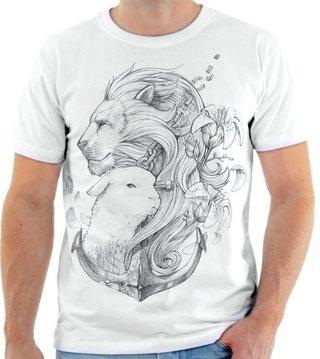 Camiseta Camisa Blusa Personalizad Estamp Cordeiro E O Leao R