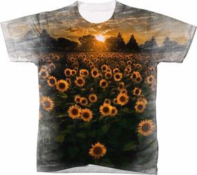 09a73dfbb Camiseta Camisa Girassol Vintage Floral 99