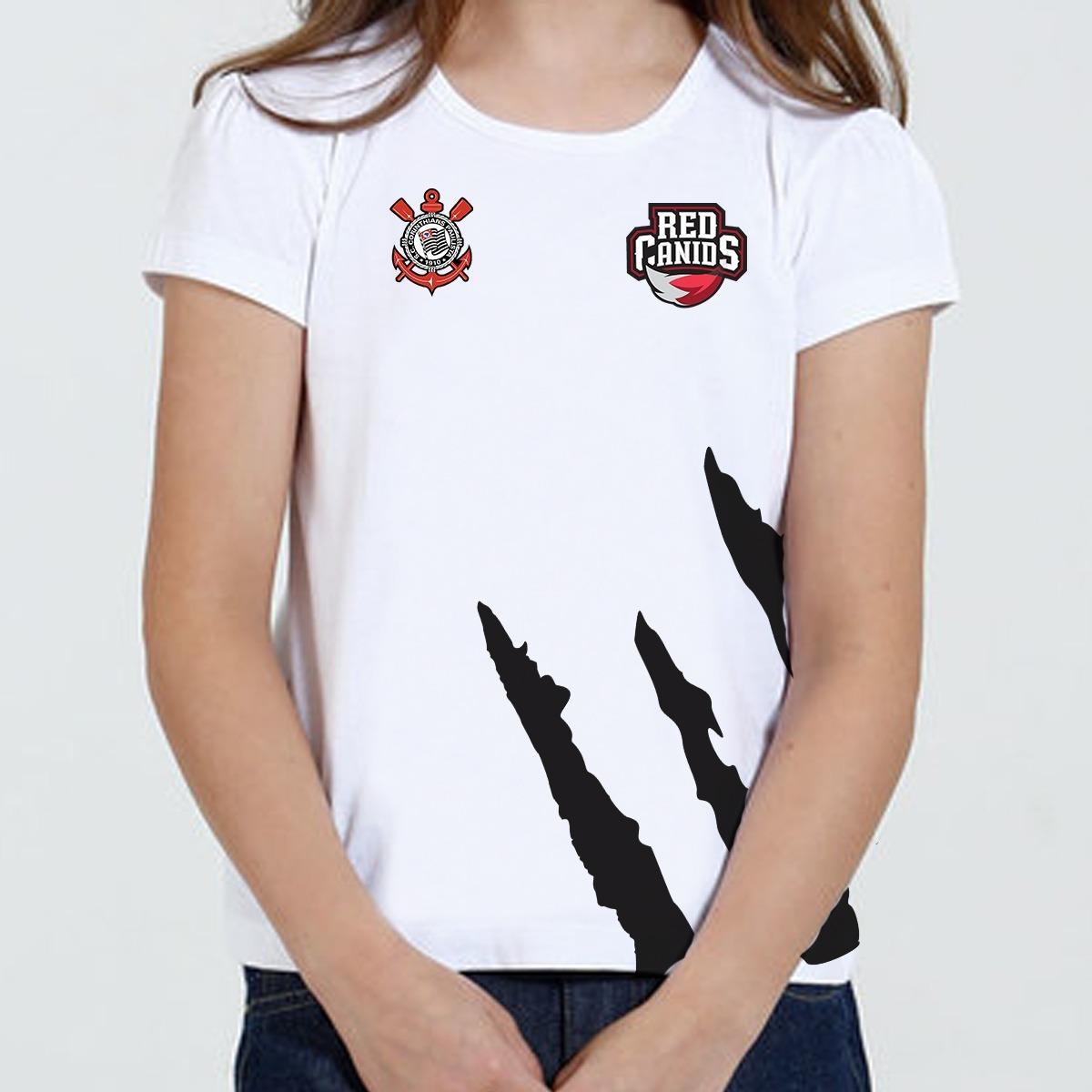 Camiseta Camisa Infantil Feminina- Red Canids Corinthians - R  29 52a6e18f926aa