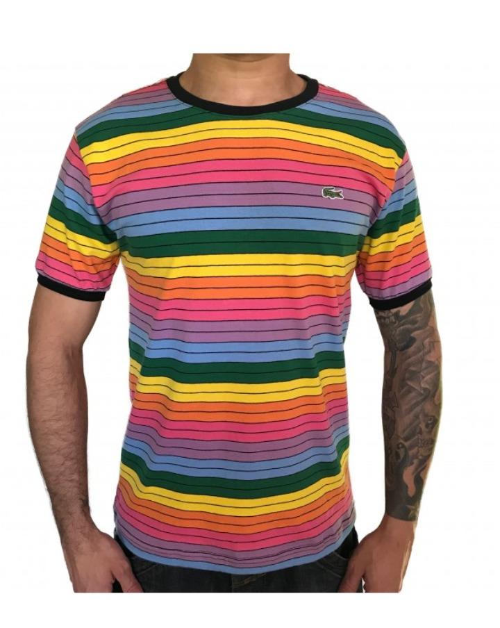 Camiseta Camisa Lacoste Arco Iris Nova Listrada Colorida R 89 99