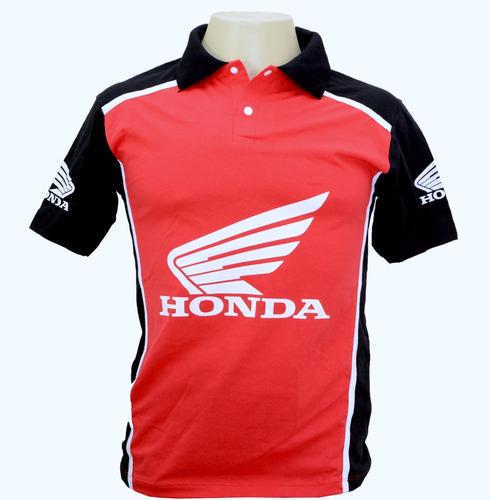 camiseta camisa manga curta gola polo esportiva moto honda