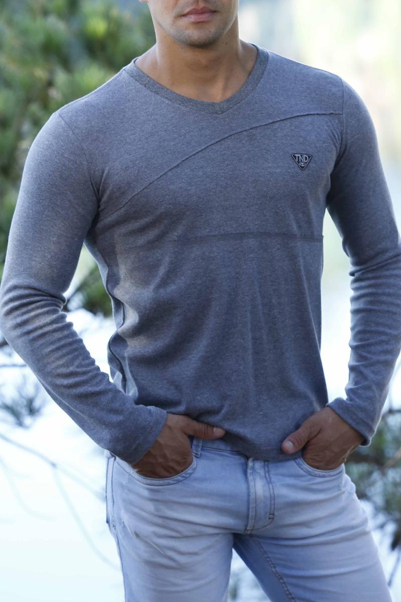d1402eb27 camiseta camisa manga longa slim masculina malha suedine. Carregando zoom.
