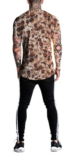 camiseta camisa masculina long line estampada stilo floral