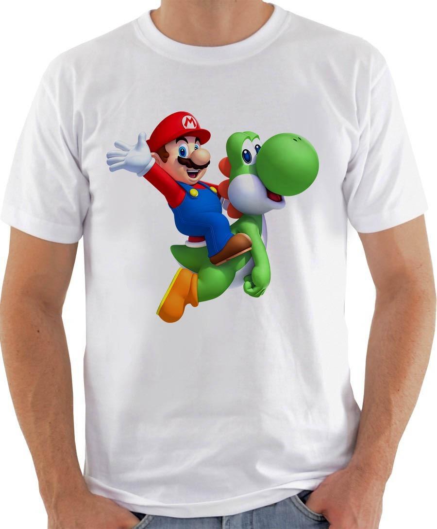 Camiseta Camisa Masculina Mario & Yoshi - R$ 29,65 em Mercado Livre