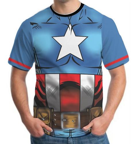 camiseta camisa masculina roupas herois capitão américa 3d