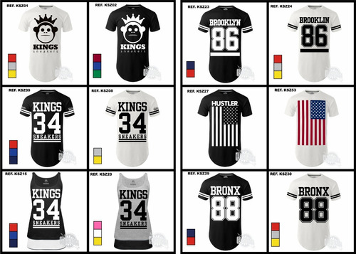camiseta camisa new york ny kings la patos oversize longline